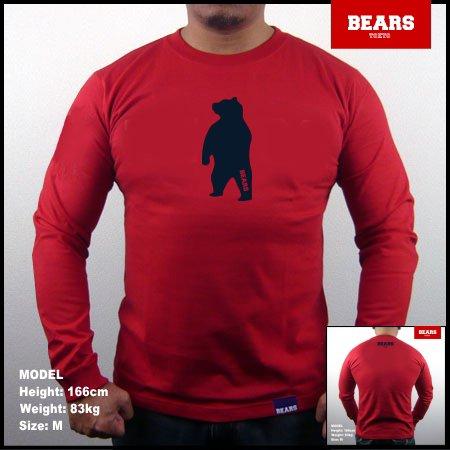■ BEARS TOKYO ロングスリーブTシャツ ANIMAL MIDDLE BEAR (アニマルミドルベアー)レッド