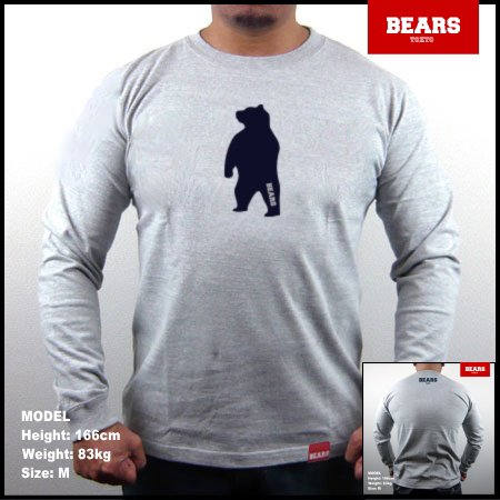 <img class='new_mark_img1' src='//img.shop-pro.jp/img/new/icons13.gif' style='border:none;display:inline;margin:0px;padding:0px;width:auto;' />■ BEARS TOKYO ロングスリーブTシャツ ANIMAL MIDDLE BEAR (アニマルミドルベアー)グレー