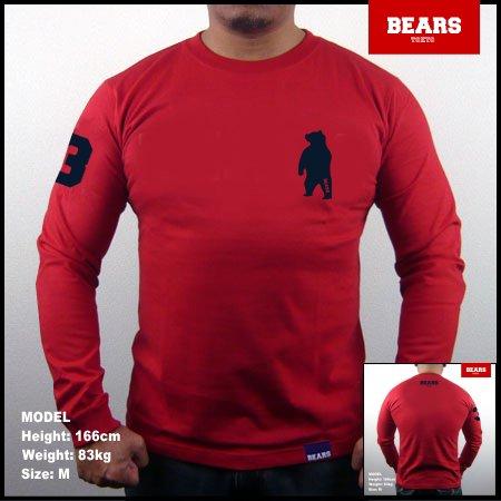 ■ BEARS TOKYO ロングスリーブTシャツ ANIMAL BEAR (アニマルベアー)レッド