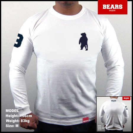 <img class='new_mark_img1' src='//img.shop-pro.jp/img/new/icons13.gif' style='border:none;display:inline;margin:0px;padding:0px;width:auto;' />■ BEARS TOKYO ロングスリーブTシャツ ANIMAL BEAR (アニマルベアー)ホワイト