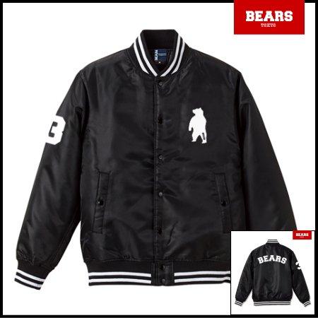 ■ BEARS TOKYO 中綿 ベースボールジャケット(スタジャン) BASE BALL JACKET ANIMAL BEAR ARCH (アニマルベアーアーチ) ブラック