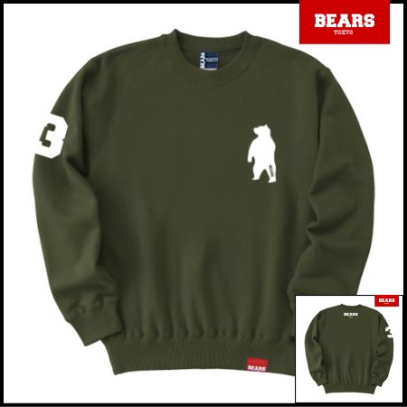 ■ BEARS TOKYO スウェットシャツ ANIMAL BEAR (アニマルベアー) カーキ