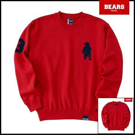 ■ BEARS TOKYO スウェットシャツ ANIMAL BEAR (アニマルベアー) レッド