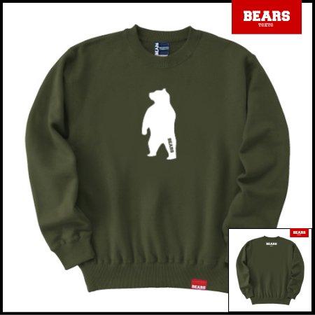 ■ BEARS TOKYO スウェットシャツ ANIMAL MIDDLE BEAR (アニマルミドルベアー) カーキ
