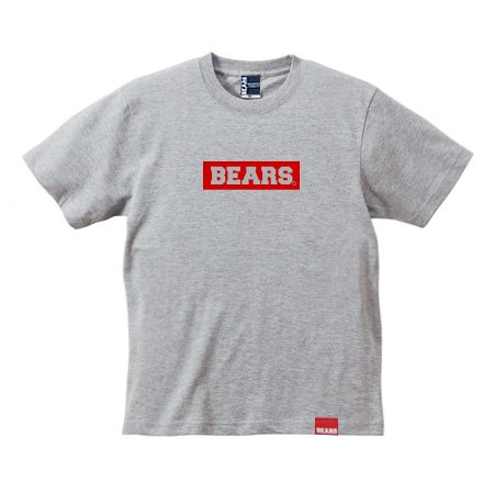 ■ BEARS TOKYO Tシャツ BEARS BOX LOGO (ベアーズボックスロゴ) グレー×レッド
