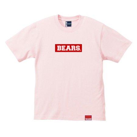 ■ BEARS TOKYO Tシャツ BEARS BOX LOGO (ベアーズボックスロゴ) サーモンピンク×レッド