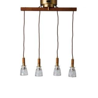 アルメリア4ランプ シーリングランプ 照明 ガラス 4灯 ウッド調 LED対応 リモコン付き ダイニング