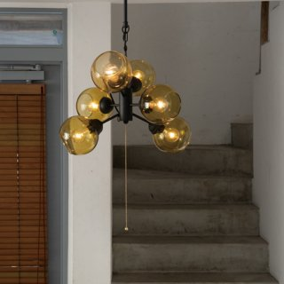 MOON 6 ペンダントランプ 照明 ガラス 6灯 LED対応 長さ調節可能 デザイン照明 おしゃれ リビング