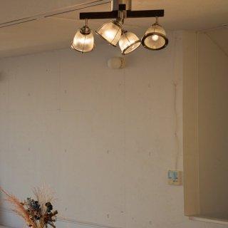 DINER CROSS シーリングランプ 照明 ガラス 4灯照明 LED対応 角度調節 リモコン付き ウッド調 おしゃれ カフェ