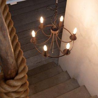 CIRCLE CHANDELIER シャンデリア 照明 6灯 LED対応 高さ調節可能 アンティーク レトロ ヴィンテージ風 おしゃれ