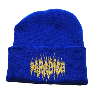 PARADIS3<br>BLACK METAL GOLD EMBROIDERED BEANIE<br>