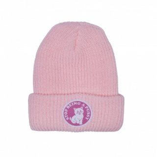 RIPNDIP<br>STOP BEING A PUSSY RIBBED BEANIE (PINK)<br>