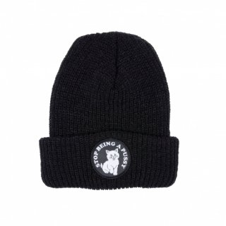 RIPNDIP<br>STOP BEING A PUSSY RIBBED BEANIE (BLACK)<br>