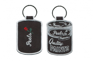 Peels<br>Black Paint Can Embroidered Patch Key Chain<br>