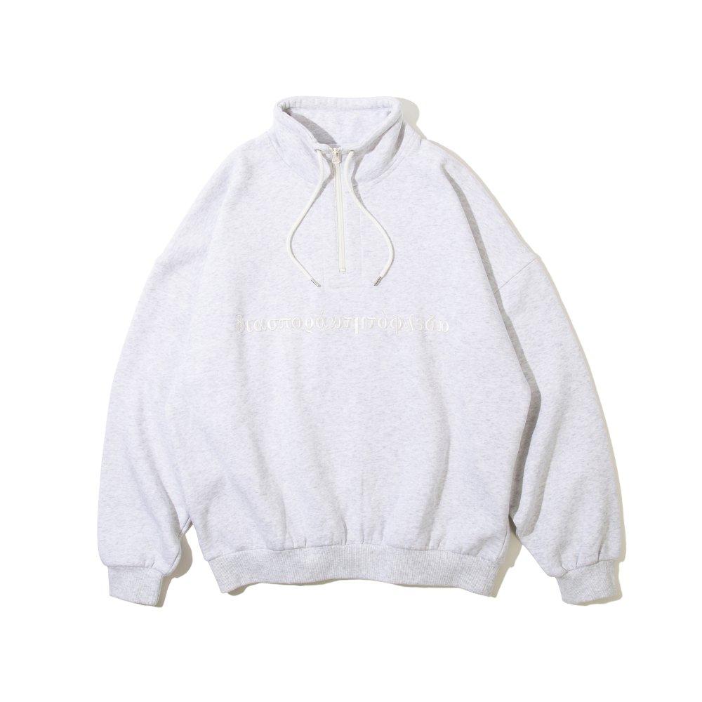 Diaspora skateboards<br>Long Letter Embroidered Half Zip Sweatshirt<br>