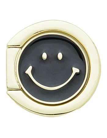 BLACK SMILEY / フェイススマホリング