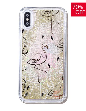 Pink Flamingo / ラメムーブケース(iPhoneX/Xs)