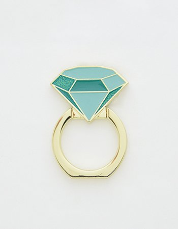 ダイヤ指輪(グリーン)/ スマホリング