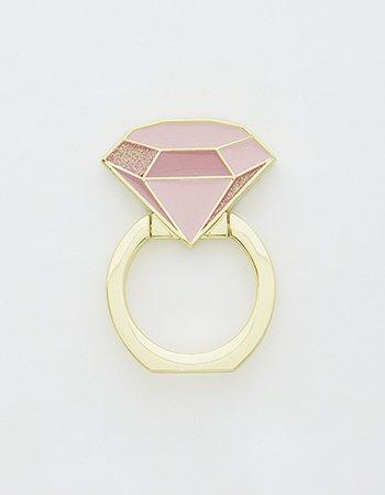 ダイヤ指輪(ピンク)/ スマホリング