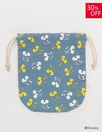 DISNEY /wa巾着袋 顔パターン(ブルー)