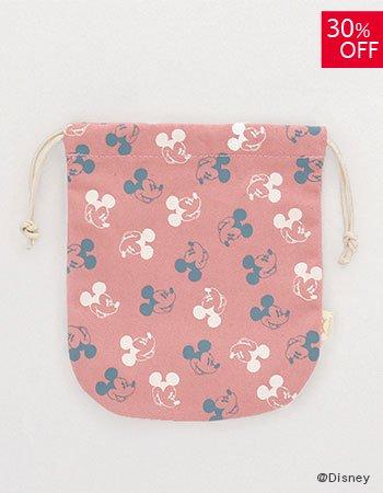 DISNEY /wa巾着袋 顔パターン(ピンク)