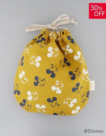 DISNEY /wa巾着袋 顔パターン(イエロー)