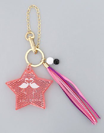 スター×リボン(ピンク)/リフレクトキーホルダー