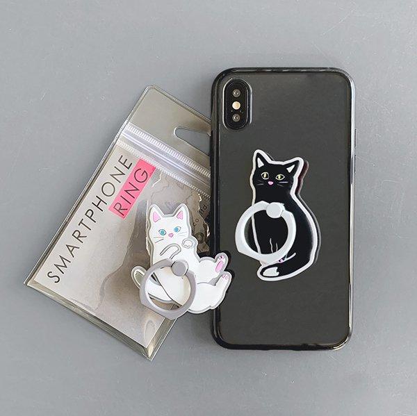 黒猫×ポーズ(BK)/ スマホリング