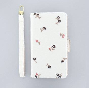 ベロア×花刺繍(WH)/  ブックレットケース(マルチ対応)