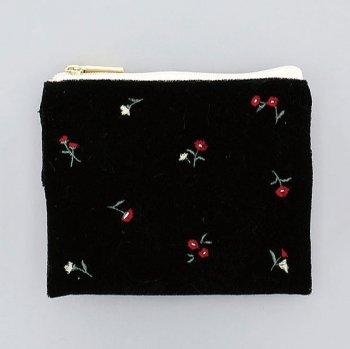 ベロア×花刺繍(BK) /  ティッシュポーチ
