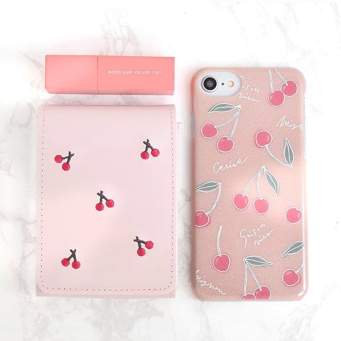 チェリー / ピンクラメケース(iPhone8/7/6s/SE兼用)