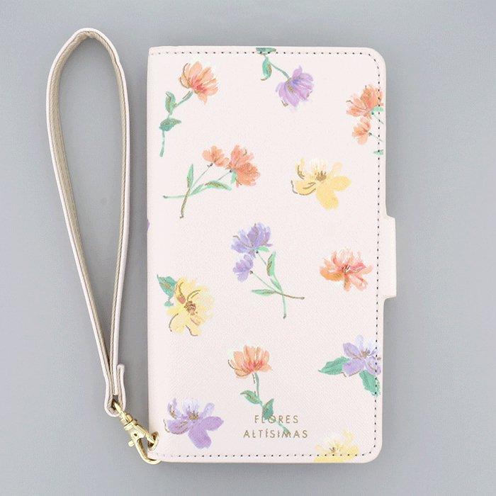 水彩お花ピンク(PK)/  ブックレットケース(マルチ対応)