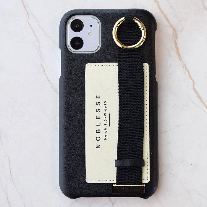 シンプルロゴ(BK) / バンド付きケース (iPhone11/XR兼用)