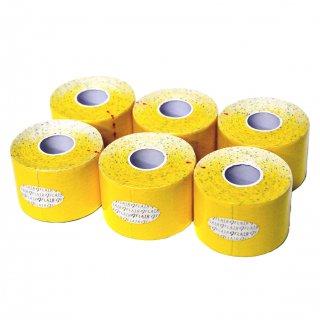 【6巻セット】 カラーキネシオテープ 50mm x 5.0M イエロー