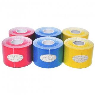 【6巻セット】 カラーキネシオテープ 50mm x 5.0M 3色アソート