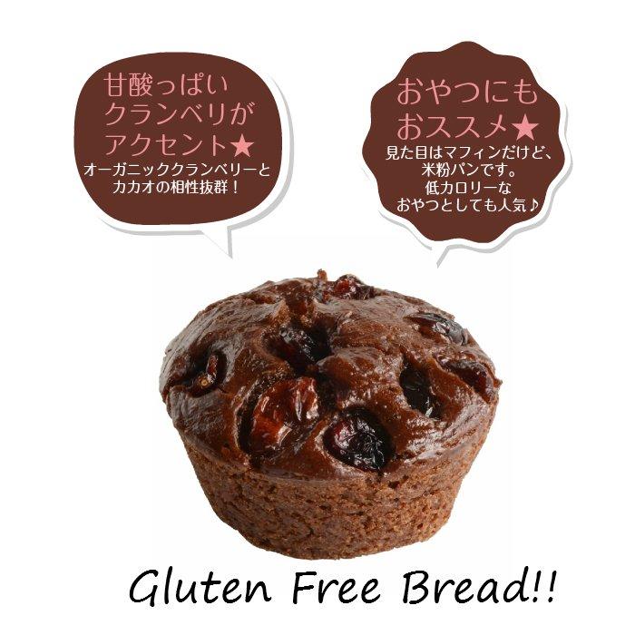 グルテンフリー・無添加・天然酵母 米粉パン カカオ&オーガニッククランベリー 1個