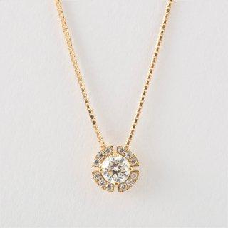 K18YG ダイヤモンド・ヘイロー・ネックレス