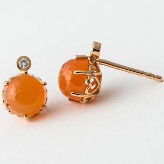 K18PG オレンジムーンストーン・ダイヤモンド・ピアス