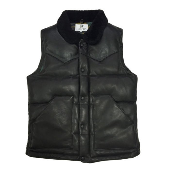 HBNS | ALL LEATHER VEST-BLACK