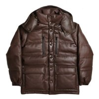HBNS | LEATHER DOWN JACKET-BROWN