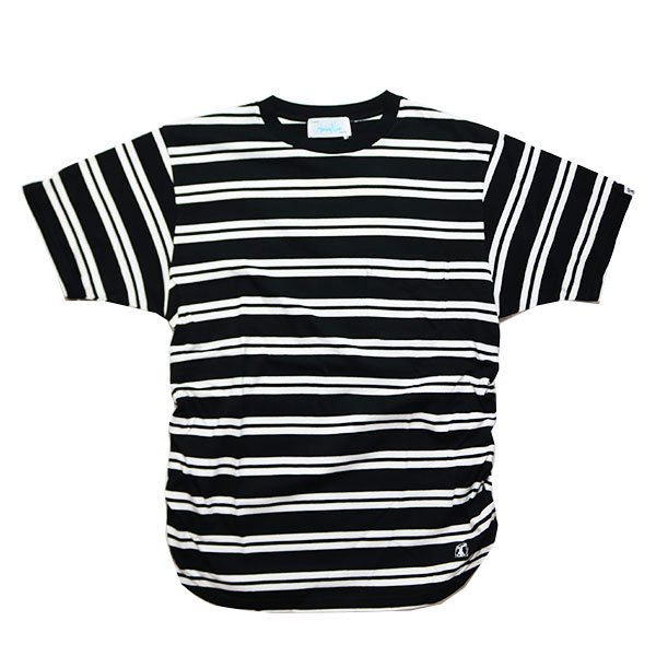 Hombre Nino | SHIRRING POCKET TEE-BLACK×WHITE