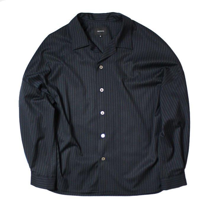 superNova. | Big Open Collar Shirt - Jacquard Stripe