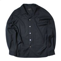 superNova. | Big Open Collar Shirt - Jacquard Stripe