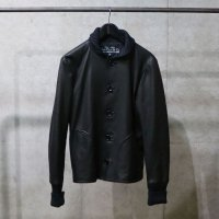 SLOWGUN | ALL LEATHER STADIUM JACKET - BLACK