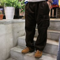 HBNS | CORDUROY WIDE CARGO PANTS - BROWN