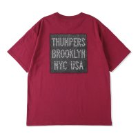 THUMPERS BROOKLYN NYC USA サンパース |  LEATHER PATCH LOGO S/S TEE - PURPLE