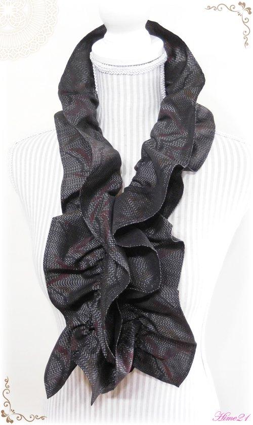 大島紬のシャーリングフリルショール(グレー系)◆着物リメイク*絹シルク*マフラーや付け襟としても・・・sho-127