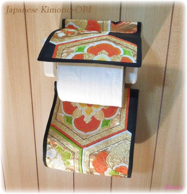 帯から作ったトイレットペーパーホルダーカバー☆(金色*オレンジ花模様) 絹・シルク toile-001