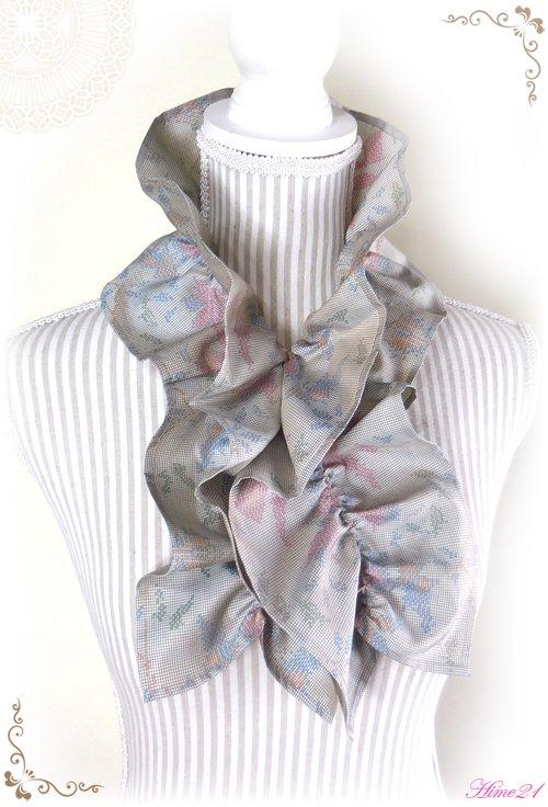 【大島紬】シャーリングフリルショール(薄グレージュ)◆着物リメイク*絹シルク*マフラーや付け襟としても・・・sho-153