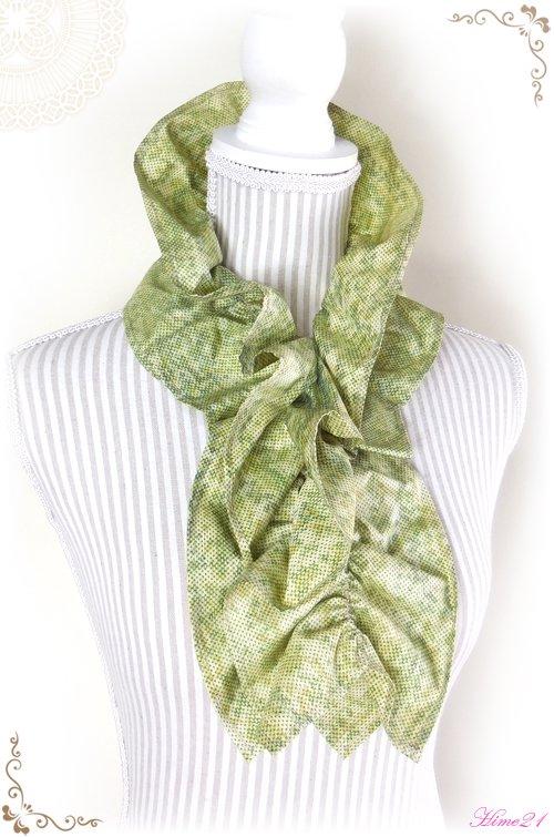 【大島紬】シャーリングフリルショール(若草色/5マルキ)◆着物リメイク*絹シルク*マフラーや付け襟としても・・・sho-154